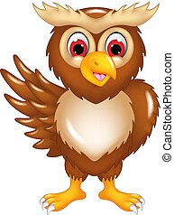 cute owl cartoon standing with smile and waving