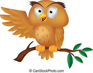 Cute owl cartoon waving - Vector illustration of Cute owl ...