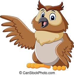 Cute owl cartoon waving