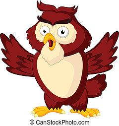 Cute owl cartoon waving wing