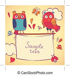 Vector illustration of cute owl holding banners.