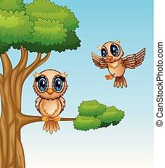 Cute owls cartoon on a tree branch