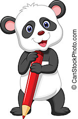 Cute panda bear cartoon holding red
