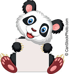 Cute panda cartoon holding blank si - Vector illustration of...