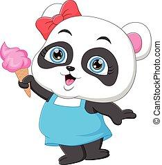 cute panda cartoon holding ice cream
