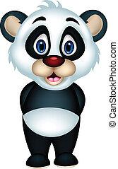 cute panda cartoon posing