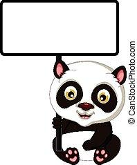 cute panda cartoon with board
