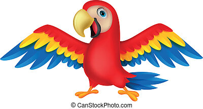 Cute parrot bird cartoon - Vector illustration of Cute...
