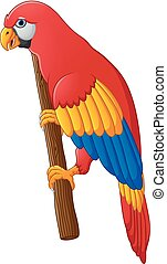 Cute parrot cartoon posing