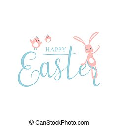 Vector illustration of cute pastel color happy easter greeting template