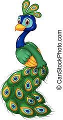 Cute peacock cartoon isolated