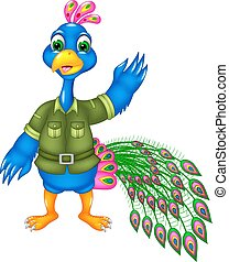 cute peacock cartoon standing with smile and waving