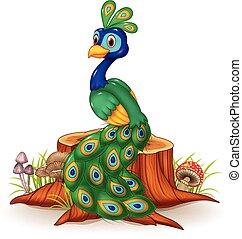 Cute peacock on tree stump - Vector illustration of Cute...