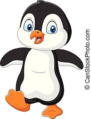 Cute penguin cartoon on white background