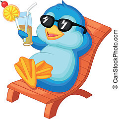 Vector illustration of Cute penguin cartoon sitting on beach chair