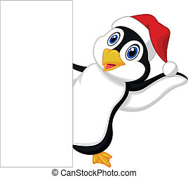 Cute penguin cartoon with red hat w