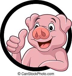 Cute pig cartoon giving thumb up