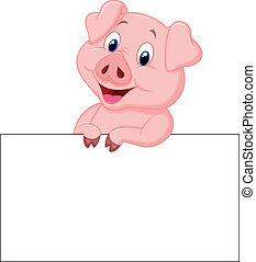 Cute pig cartoon holding blank sign - Vector illustration of...