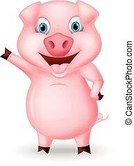 Cute pig cartoon presenting