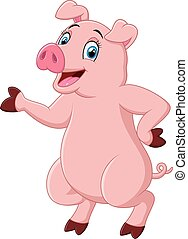 Cute pig cartoon presenting - vector illustration of Cute...