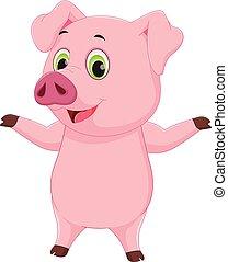 cute pig cartoon waving