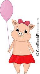 Vector illustration of Cute pig holding a balloon cartoon. Doodle, hand-drawn. Cartoon.