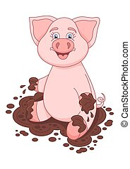 Vector illustration of cute pig in dirt puddle - Vector...