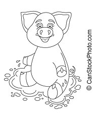 Vector illustration of cute pig on water puddle, coloring book