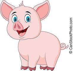 Cute pig posing isolated - Vector illustration of Cute pig...