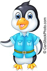 cute pinguin cartoon standing with waving and smile