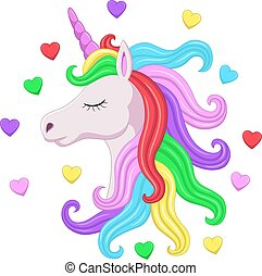 Cute pink unicorn head with rainbow mane and closed eyes - ...