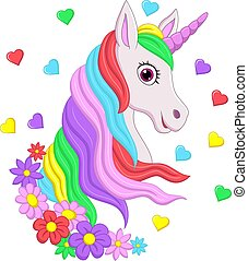 Cute pink unicorn head with rainbow mane, flowers and hearts