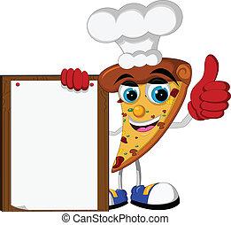 pizza cartoon holding blank board - vector illustration of...