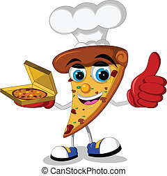 cute pizza cartoon thumb up
