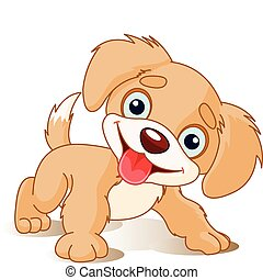 Playful Puppy - Vector illustration of Cute Playful Puppy