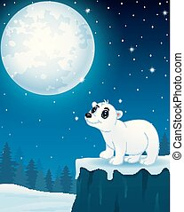Cute polar bear cartoon in the winter night background