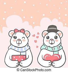 Cute polar bear couple holding a heart and gift box