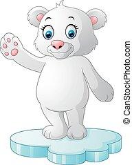 Cute polar bear waving