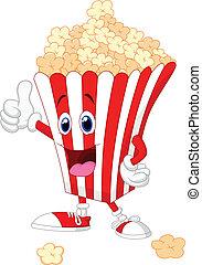 Cute popcorn cartoon with thumb up