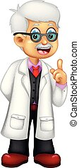 cute professor cartoon standing with laughing and pointing
