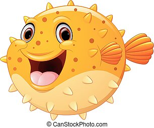 Cute puffer fish cartoon - vector illustration of Cute...