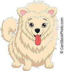 Cute puppy cartoon on white background
