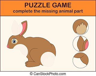 Cute rabbit cartoon. Complete the puzzle and find the missing parts of the picture