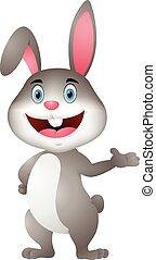 Cute rabbit cartoon presenting