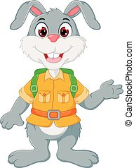 cute rabbit cartoon standing with smile and waving