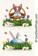 Cute rabbit cartoon with a basket and bunny ears in the grass