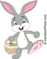 Cute rabbit holding easter basket - Vector illustration of...