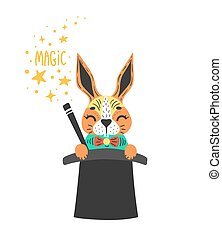 Vector illustration of cute rabbit in wizards cylinder. Magic trick. Isolated on white