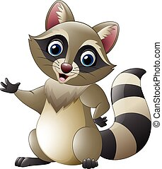 Cute raccoon cartoon waving