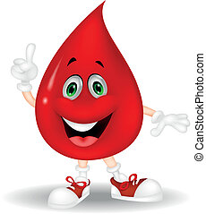 Cute red blood cartoon pointing his - Vector illustration of...